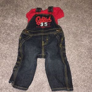 6 month old OshKosh overalls and Carters onesie.